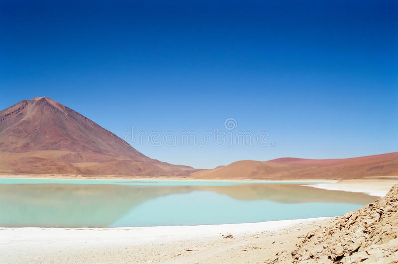 Salar de Uyuni Laguna Verde, Bolivia. A view of the green Laguna Verde in the Salar de Uyuni desert, Bolivia royalty free stock photos