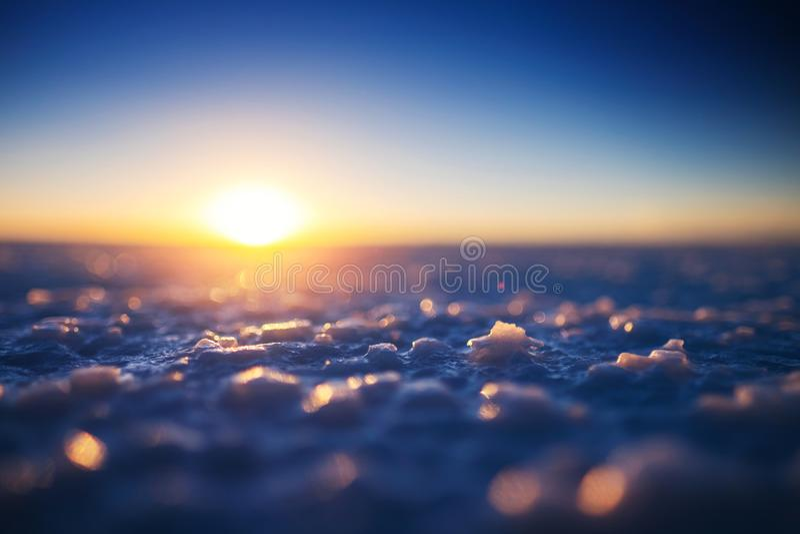 Salar de Uyuni at sunset stock images