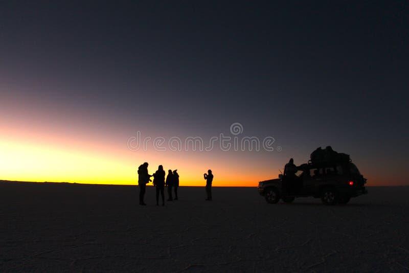 Salar de Uyuni. The world`s largest salt flat, Salar de Uyuni in Bolivia by night showing the milky way stars stock images