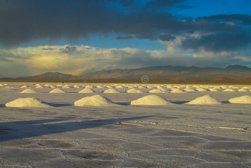 Salar plies. Salt lake plato, flat plaine covered with white salt and blue water. Mountains on horizont. Uyuni Salar, Bolivia. Altiplano in South America royalty free stock photos