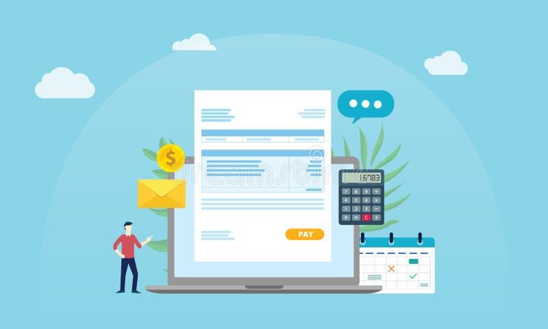 Salario en línea de la gente del trabajador del pago de la nómina de pago con el documento de papel de la factura y el fondo azul libre illustration