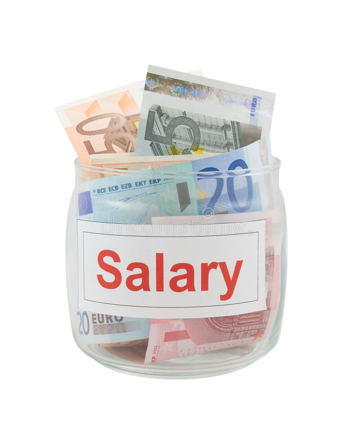 Salary. Conceptual photo of a salary. Euro banknotes in a glass jar isolated over white royalty free stock photography