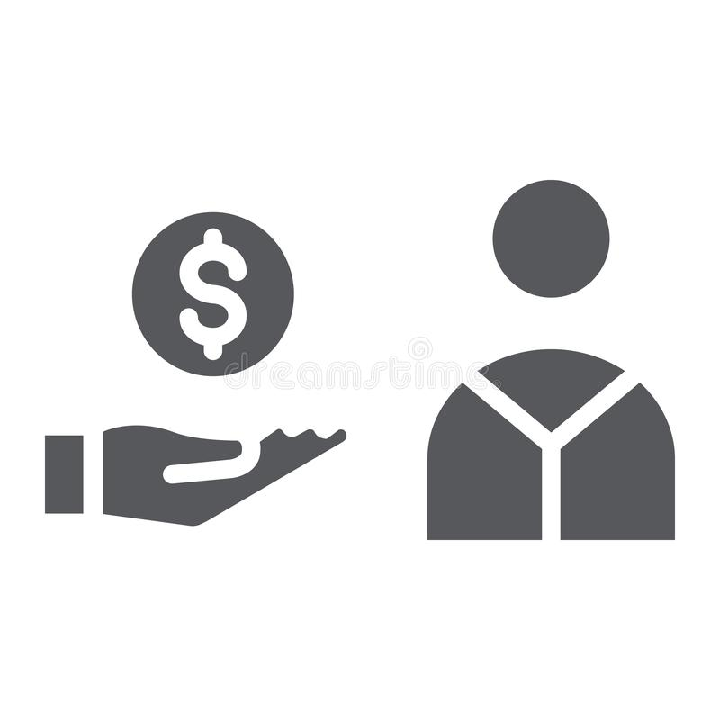Salary glyph icon, finance and payment, hand with coin sign, vector graphics, a solid pattern on a white background. Salary glyph icon, finance and payment stock illustration