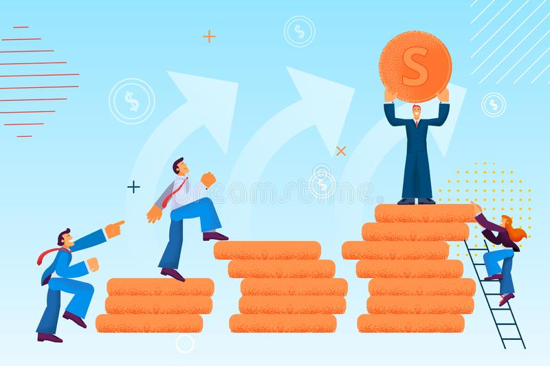 Salary Increase and Career Advancement Vector. Salary Increase and Career Advancement. Vector Illustration on Color Background. Foreground are Gold Money and stock illustration