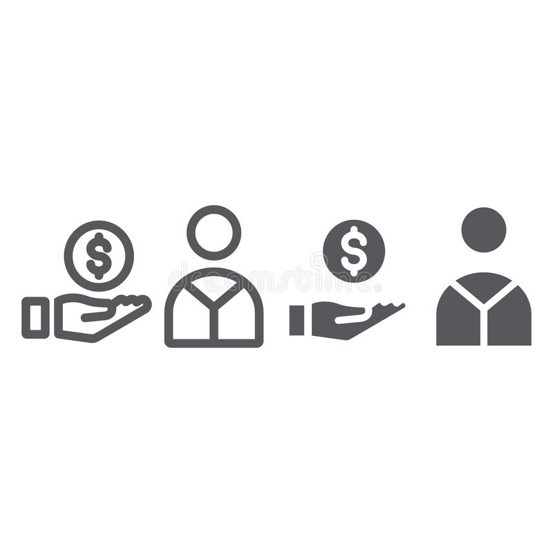 Salary line and glyph icon, finance and payment, hand with coin sign, vector graphics, a linear pattern on a white stock illustration