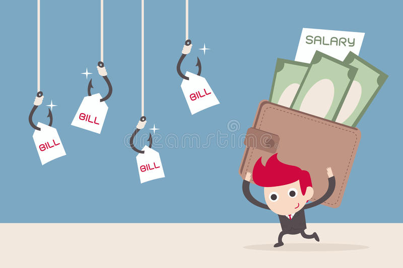 Salary man and bill payment stock illustration