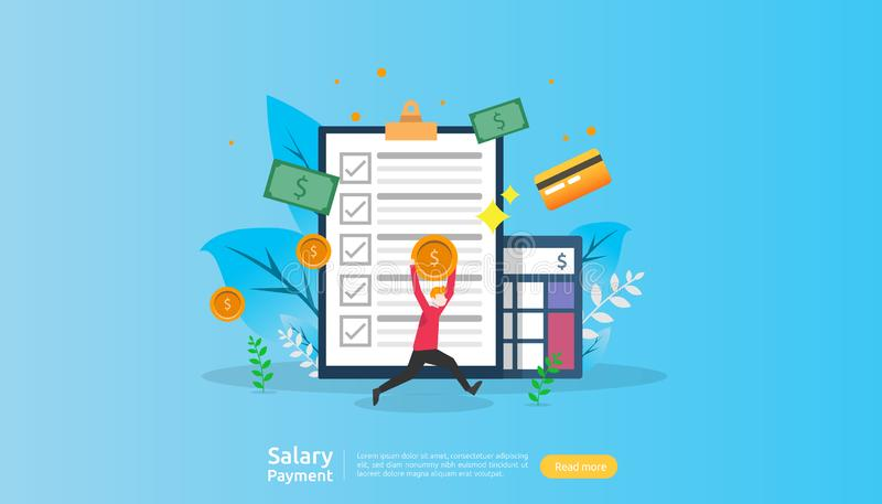 salary payment concept. Payroll, annual bonus, income, payout with paper calculator and people character. web landing page stock illustration