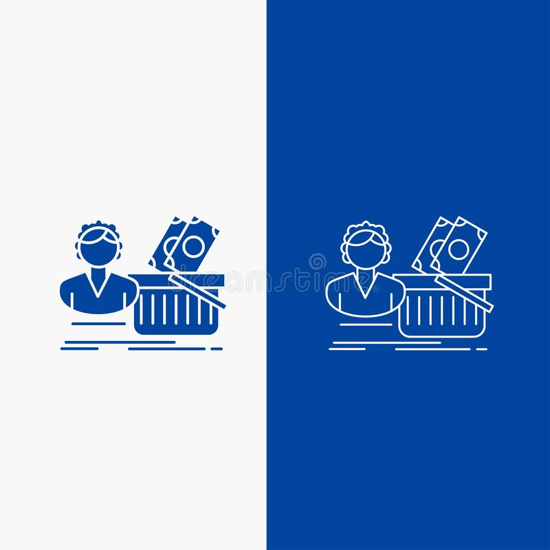 Salary, Shopping, basket, shopping, female Line and Glyph web Button in Blue color Vertical Banner for UI and UX, website or stock illustration
