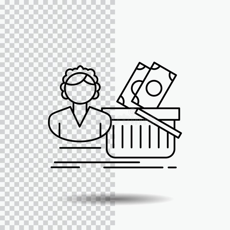 Salary, Shopping, basket, shopping, female Line Icon on Transparent Background. Black Icon Vector Illustration vector illustration
