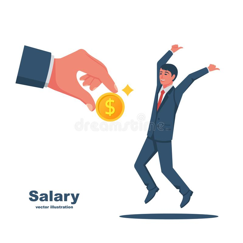 Salary time concept. Boss holding coin in hand gives worker stock illustration