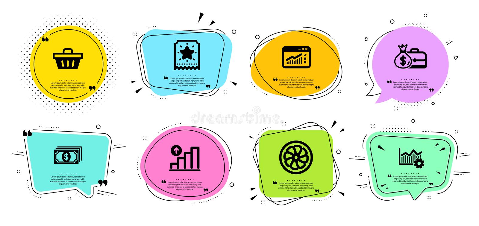 Salary, Web traffic and Shopping basket icons set. Operational excellence, Loyalty ticket and Fan engine signs. Vector. Salary, Web traffic and Shopping basket vector illustration