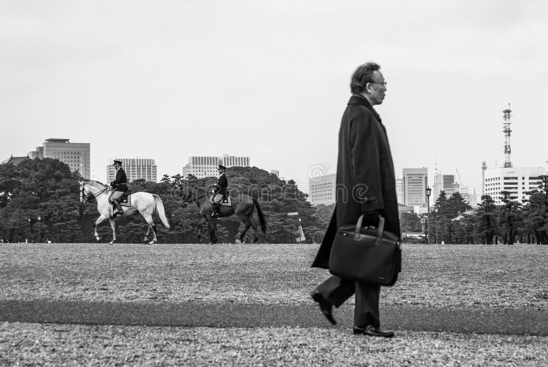 Salaryman y caballos imperiales fotos de archivo libres de regalías