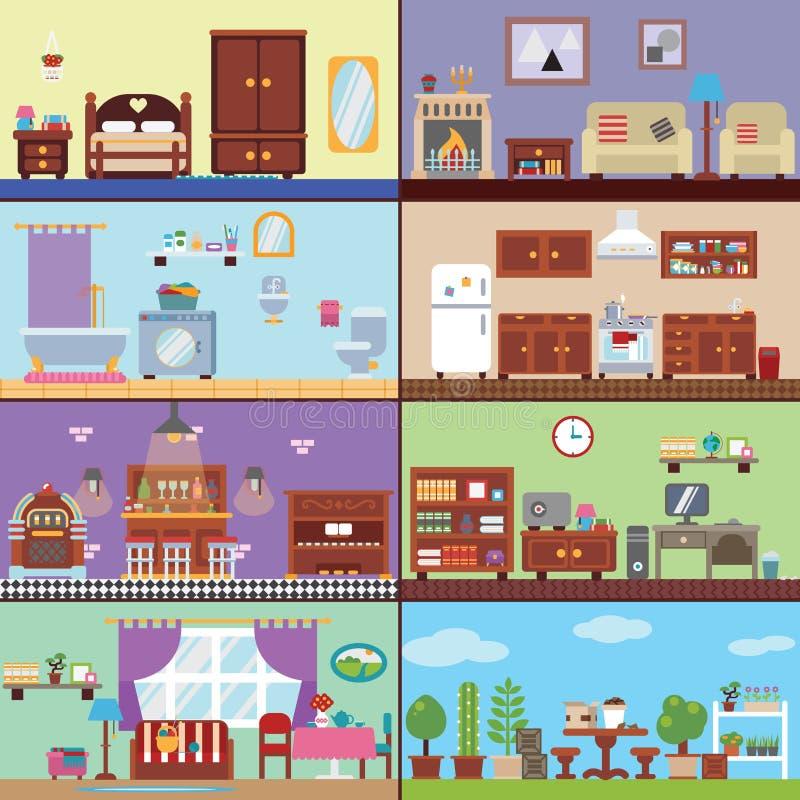 Salas da casa ilustração royalty free