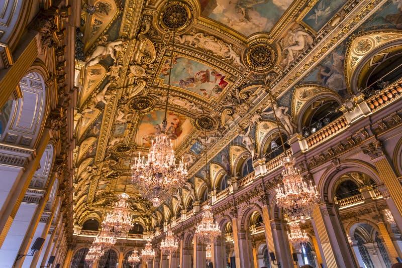Salas de recepción del ayuntamiento, París, Francia imagen de archivo libre de regalías