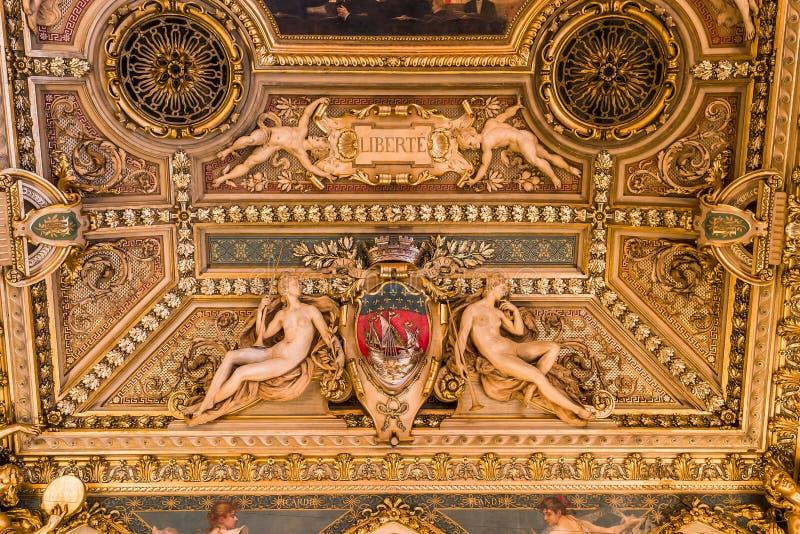 Salas de recepción del ayuntamiento, París, Francia fotos de archivo