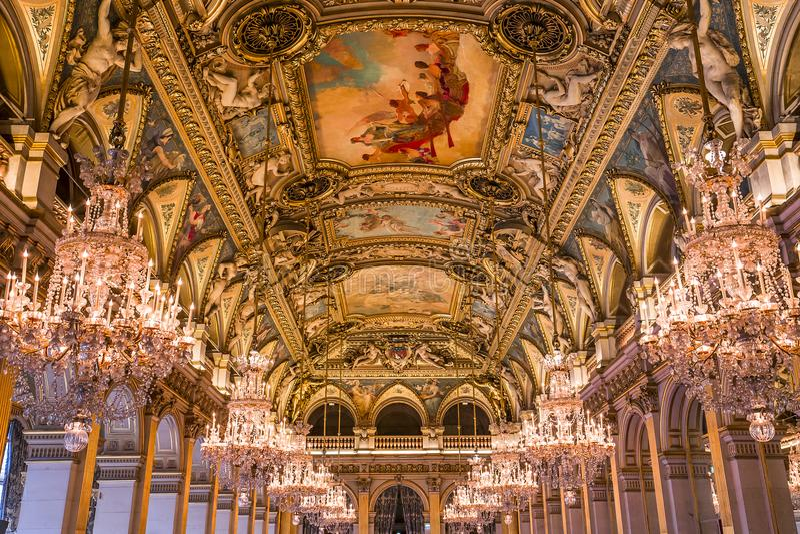Salas de recepción del ayuntamiento, París, Francia fotografía de archivo