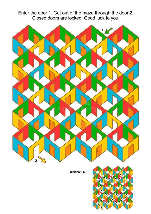 Salas e jogo do labirinto das portas ilustração royalty free