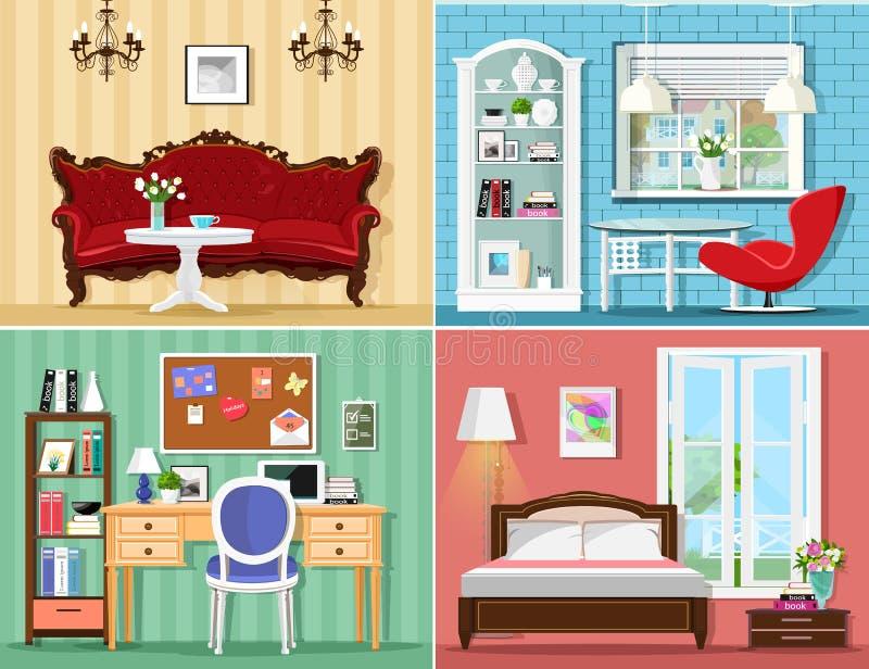 Salas gráficas à moda ajustadas: sala de visitas, quarto, escritório domiciliário Mobília colorida do vetor ilustração stock
