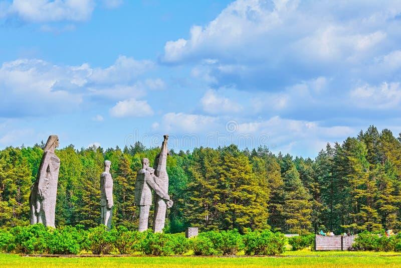 Salaspils Concentration Camp. SALASPILS, LATVIA - May 16, 2018: Monuments on the Place of Former Salaspils Concentration Camp. Autor Oleg Skarainis Osvald Gauer royalty free stock image