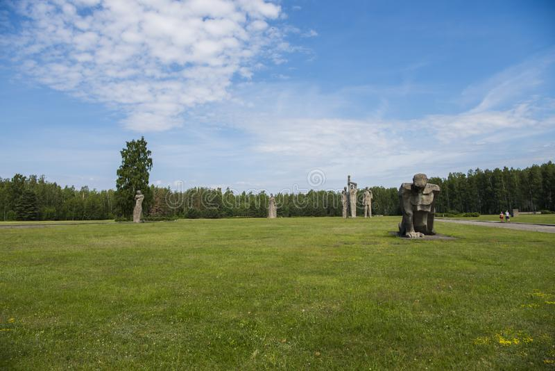 Salaspils, Latvia - June 19, 2019: Monuments at Salaspils Memorial Ensemble. Memorial is located on the former place of Salaspils. Concentration camp in Latvia stock photo