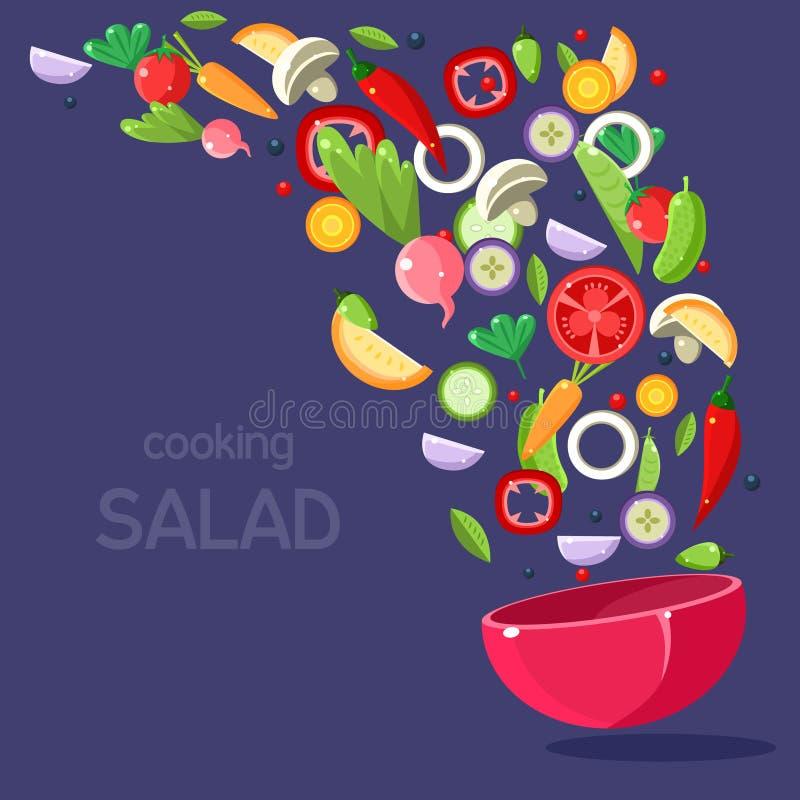 Salat-Bestandteile, die in Schüssel fliegen stock abbildung