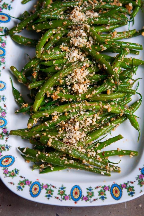 Salat der grünen Bohne des strengen Vegetariers lizenzfreie stockfotos
