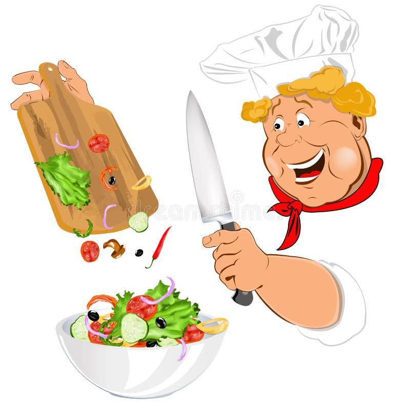 Salat des lustigen Chefs und des Frischgemüses lizenzfreie abbildung