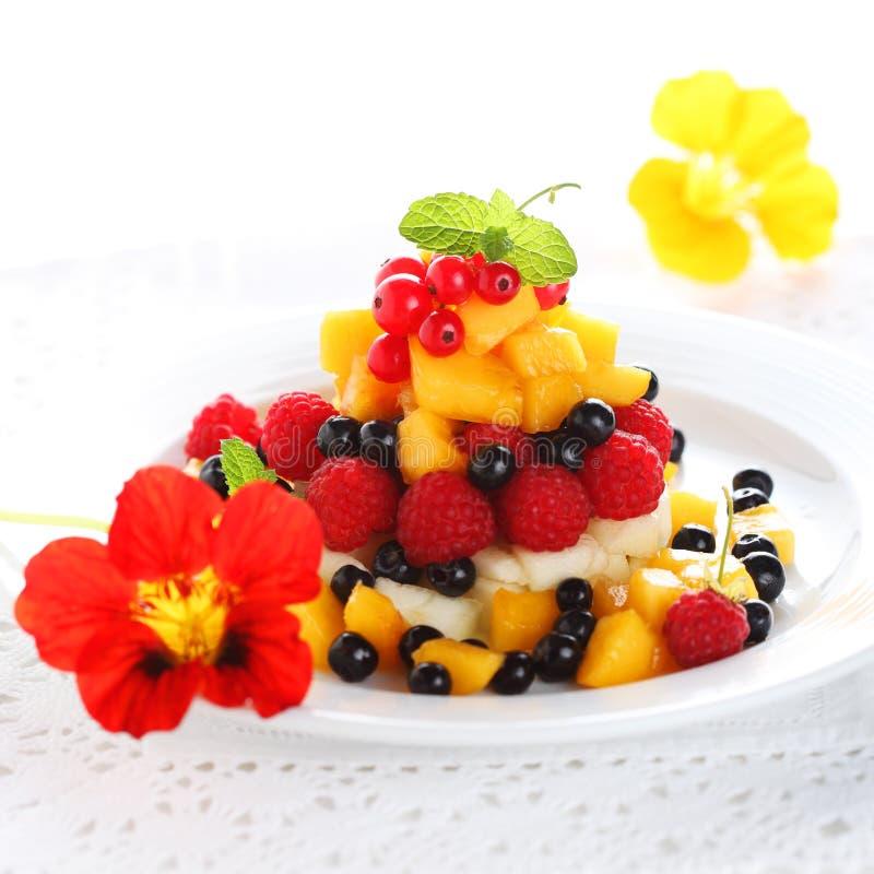 Salat mit frischer Frucht und Beeren lizenzfreies stockfoto
