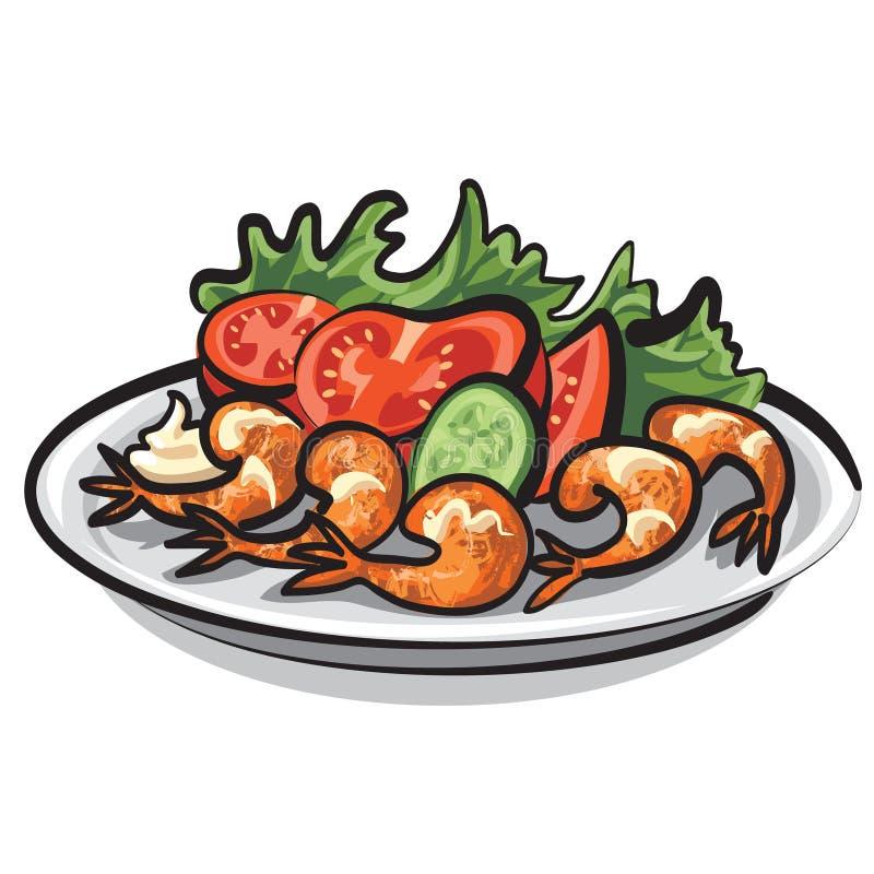 Salat mit Garnelen vektor abbildung