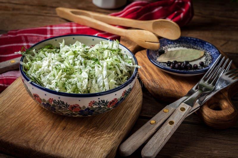 Salat mit Kohl und Dill stockfotos