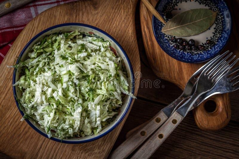 Salat mit Kohl und Dill lizenzfreies stockfoto
