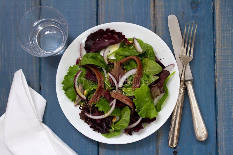 Salat mit Sardellen und Zwiebel auf weißer Platte auf blauem Hintergrund lizenzfreie stockbilder