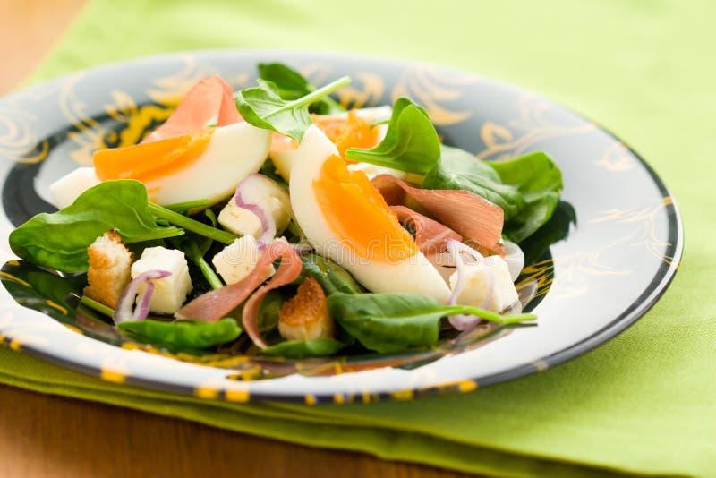 Salat mit Spinat, Ei, Schinken stockfotografie