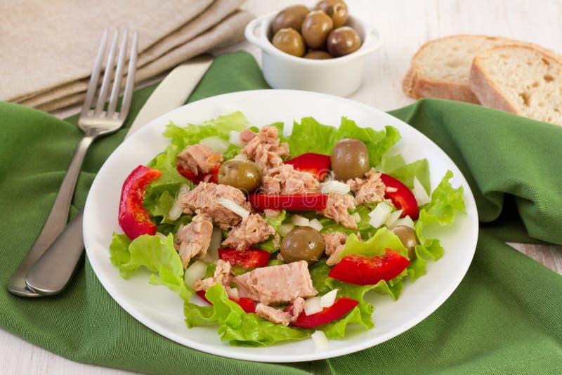 Salat mit Thunfisch, Oliven und Pfeffer stockfotografie