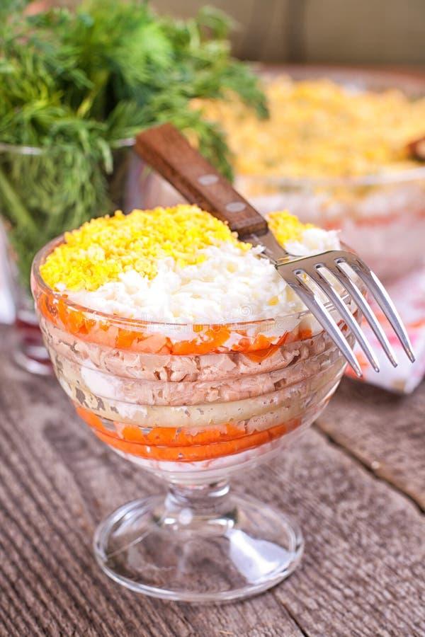 Salat mit Thunfisch und gekochtem Gemüse stockbilder