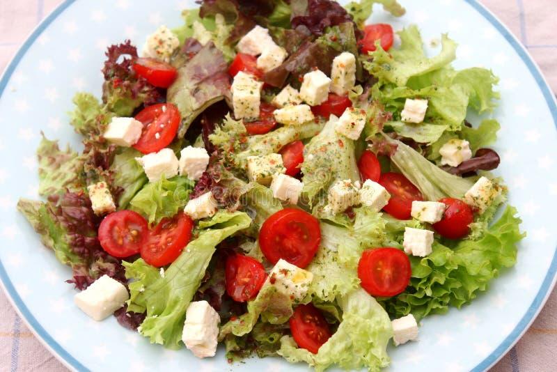 Salat mit Tomaten mit Feta stockbilder