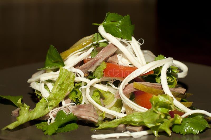 Salat mit Tomaten und Fleisch lizenzfreie stockfotos