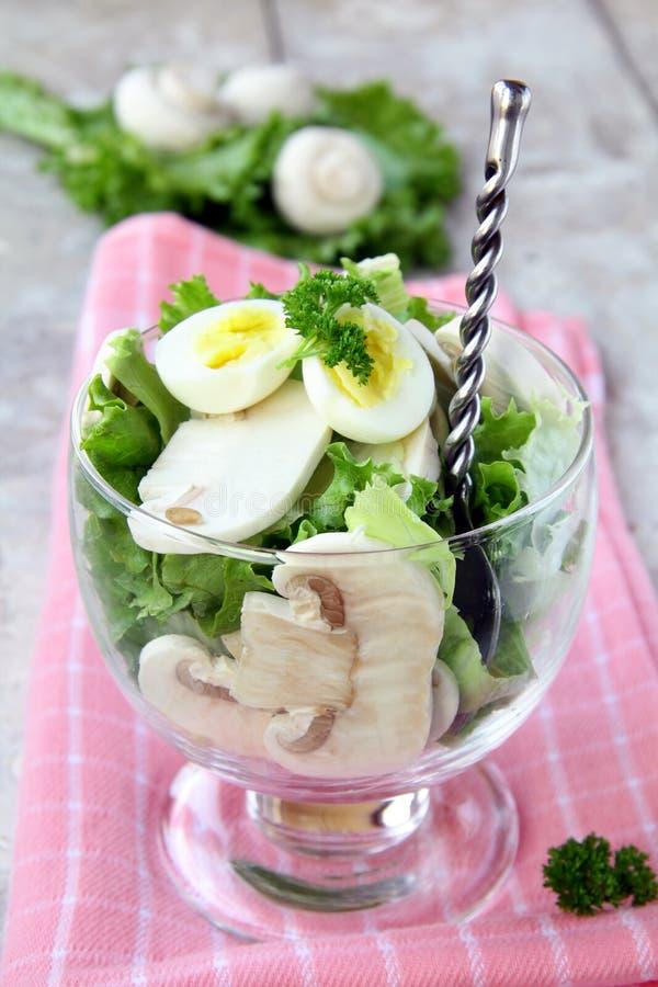 Salat mit Wachtelei stockbild