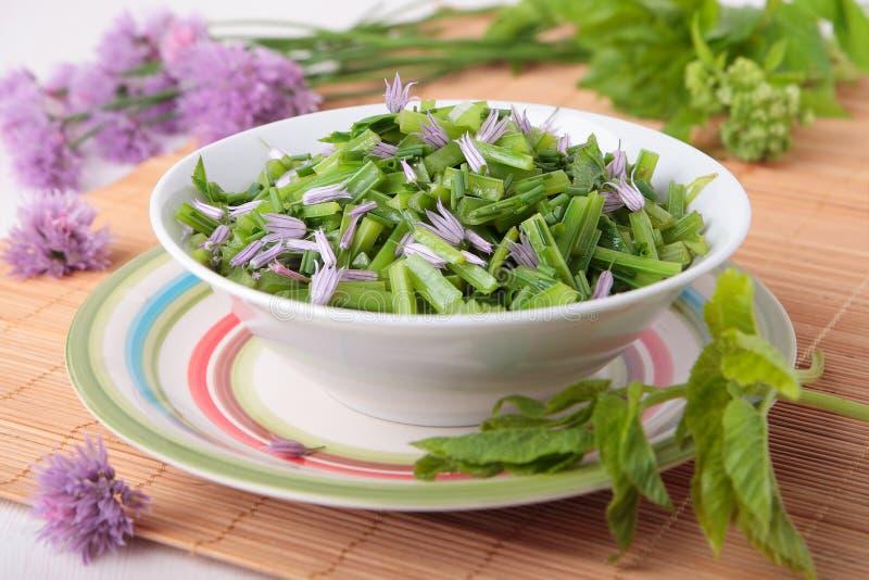 Salat von geblichen goutweed mit Schnittlauchblumen stockfotos