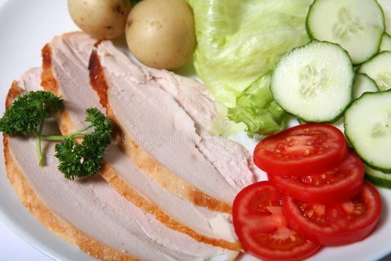 Salatnahaufnahme des kalten Truthahns lizenzfreie stockfotos