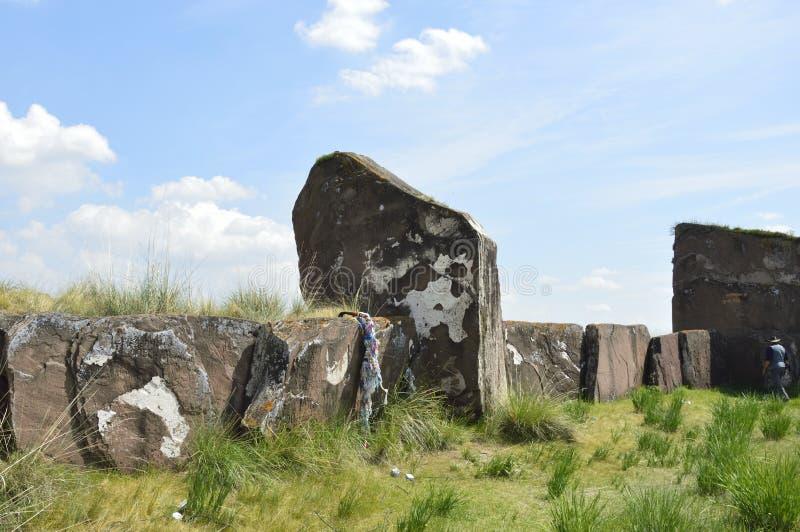 Salbykskiy mound. Ancient stones in the Khakass steppe. Khakass Stonehenge royalty free stock photography