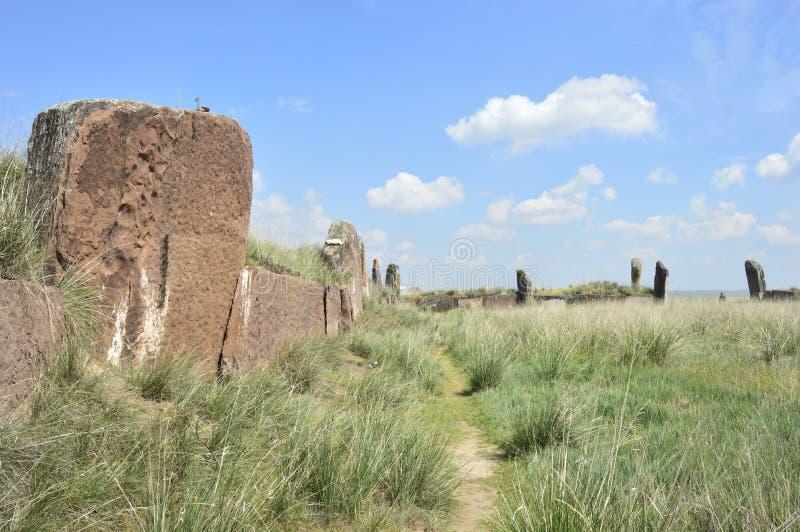 Salbykskiy mound. Ancient stones in the Khakass steppe. Khakass Stonehenge. Russia. Khakassia stock photo