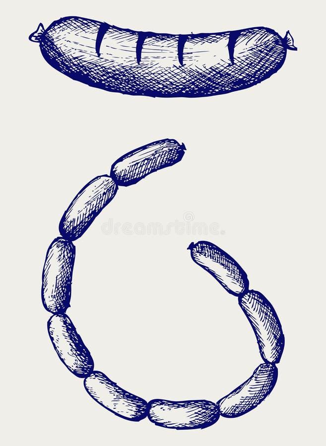 Salchicha stock de ilustración