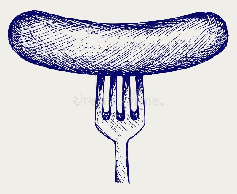Salchicha asada a la parrilla en fork ilustración del vector