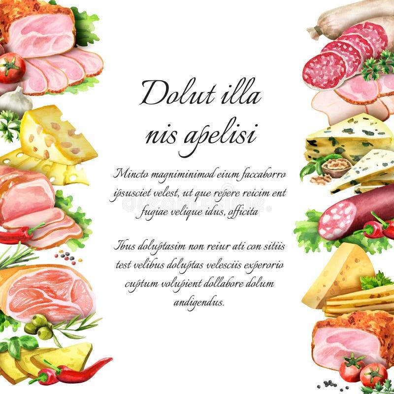Salchicha, carne ahumada y queso watercolor libre illustration