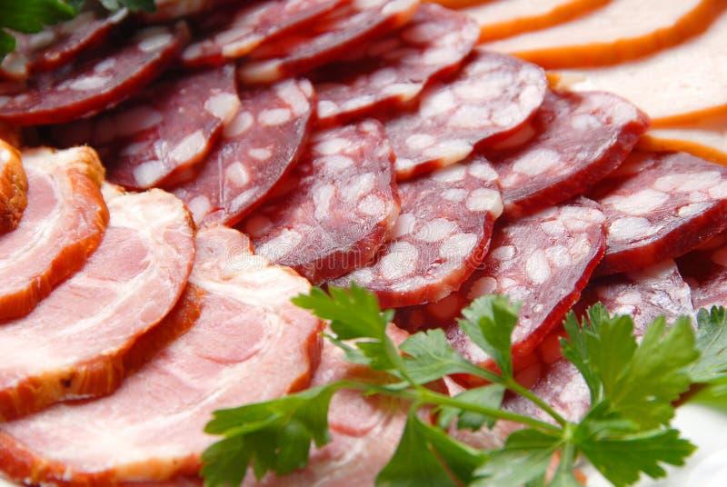 Salchicha, carne, verdor fotos de archivo libres de regalías