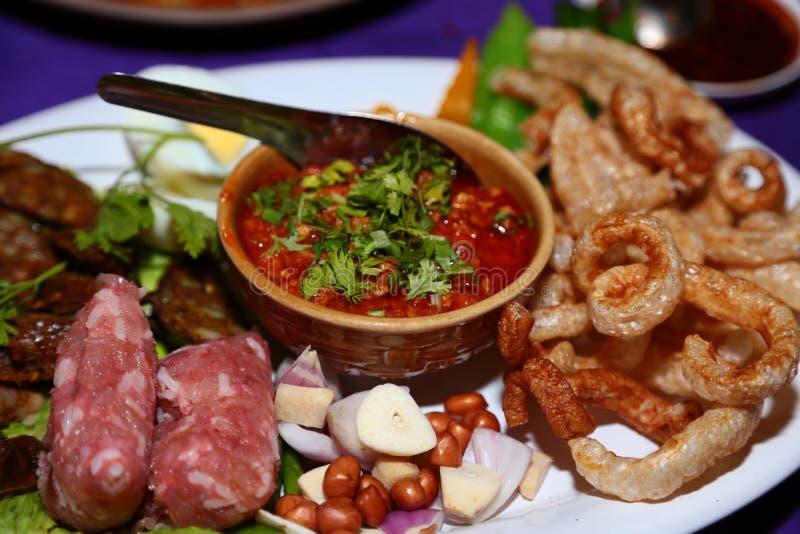 Salchicha, comida de Tailandia septentrional foto de archivo libre de regalías