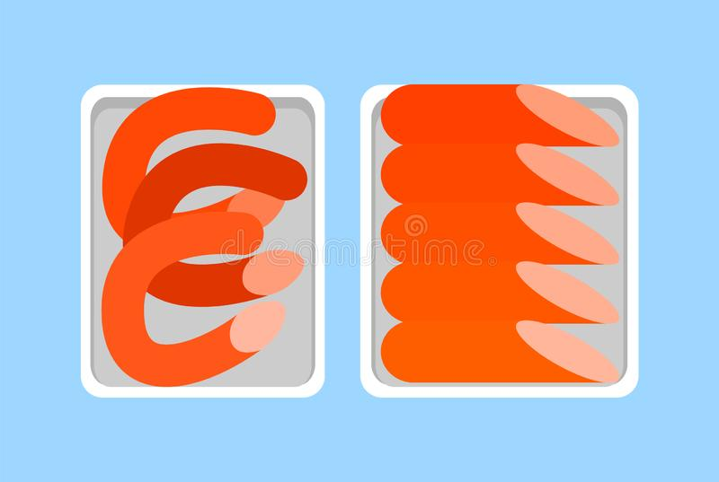 Salchicha de Francfort del Banger, Weenie candente, comida de la carnicería ilustración del vector