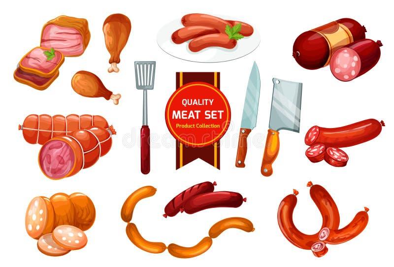 Salchicha de la carne de la carne de vaca y de cerdo, carnicería stock de ilustración