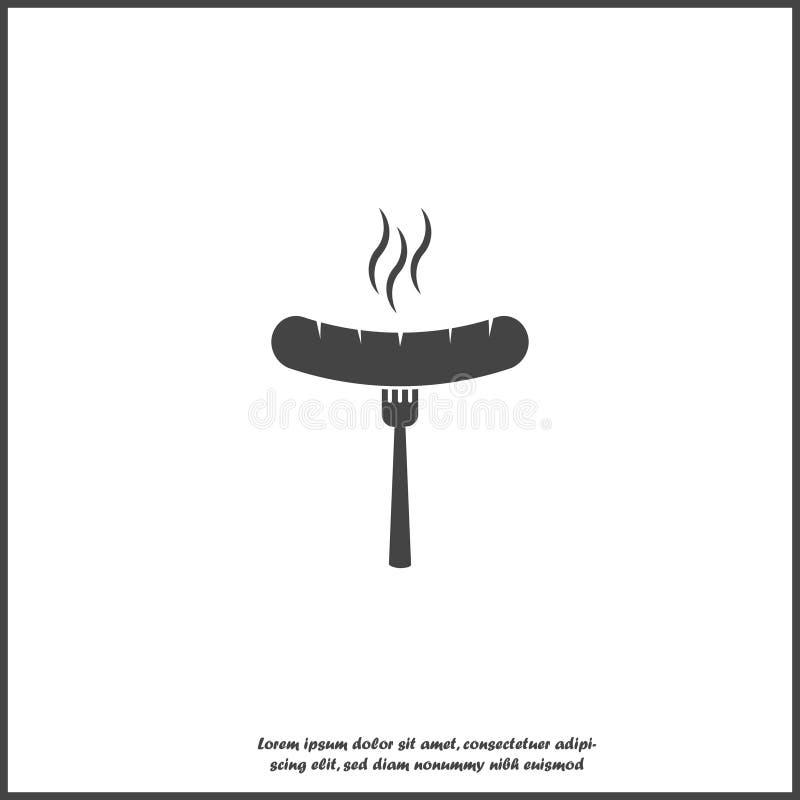 Salchicha del vector e icono de la bifurcación Símbolo de la barbacoa en el fondo aislado blanco ilustración del vector